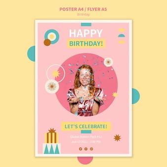 Vier verjaardag poster sjabloon