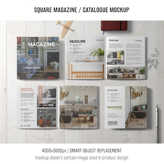 Vier vierkante tijdschrift- of catalogusmodellen