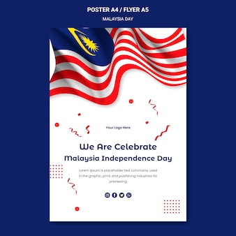Viering van maleisische onafhankelijkheid flyer-sjabloon