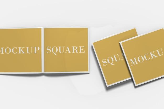Vierkant bi-fold brochure mockup geïsoleerd