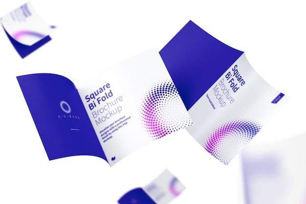 Vierkant bi-fold brochures mockup vliegen