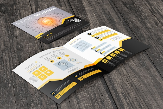 Vierkant brochuremodel op houten oppervlakte