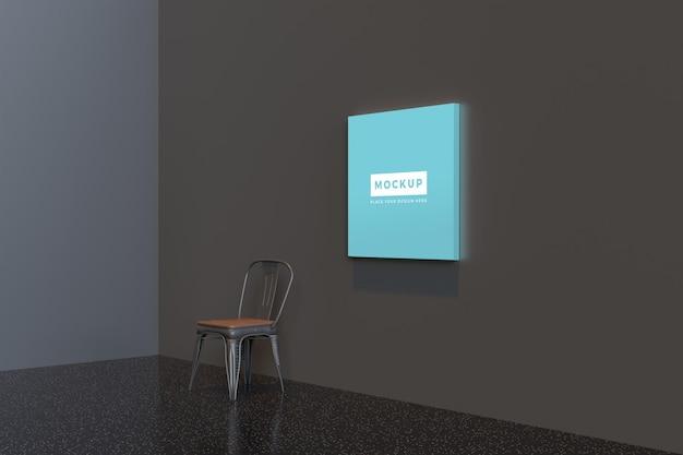 Vierkant canvasmodel dat aan de muur hangt