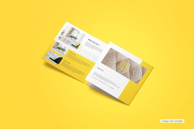 Vierkant driebladige brochure mockup