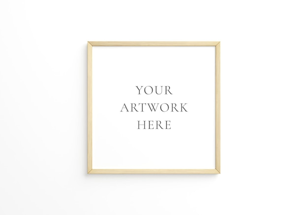 Vierkant dun houten frame op witte muur. 3d-rendering.