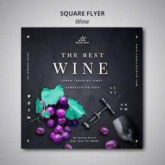 Vierkant flyer ontwerp wijnbedrijf
