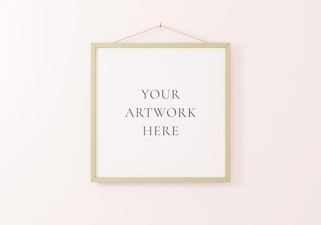Vierkant framemodel dat op een witte muur hangt. 3d-rendering.
