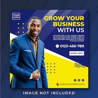 Vierkant groei uw business banner-sjabloon