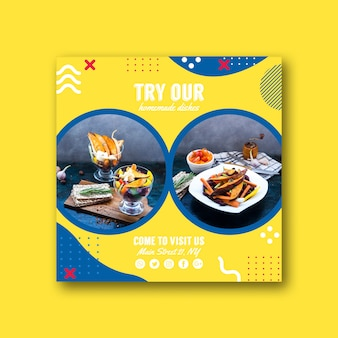 Vierkant kaartsjabloon voor restaurant in de stijl van memphis