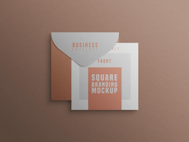 Vierkant merkmodel met visitekaartje en envelop
