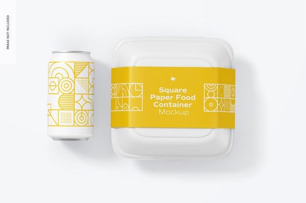 Vierkant papieren voedselcontainermodel met blik, horizontaal