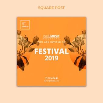 Vierkant postmalplaatje met het concept van het de lentefestival