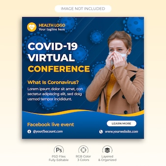 Vierkant postsjabloon over novel coronavirus virtual conference