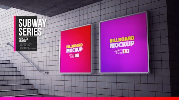 Vierkant reclamebordmodel in treinstation