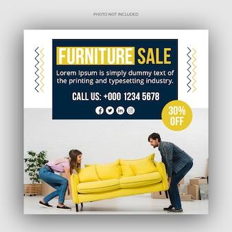Vierkant social media postsjabloon voor het meubelbedrijf