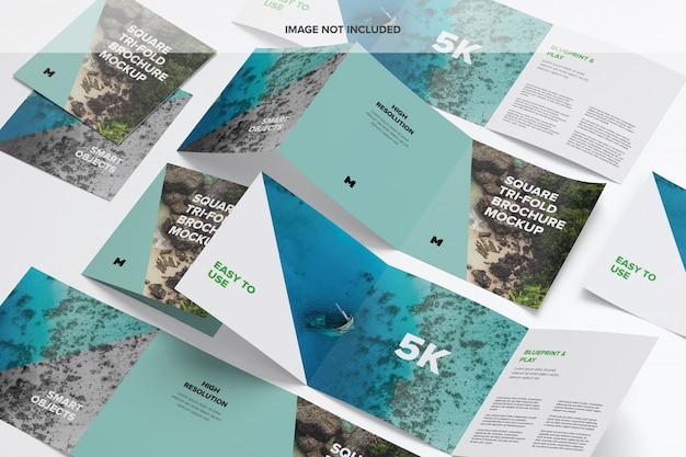 Vierkant tri-fold brochure mockup