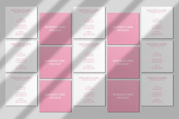 Vierkant visitekaartje mockup met schaduw overlay
