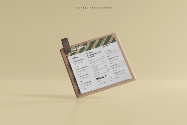 Vierkant voedselmenu op een houten plankmodel