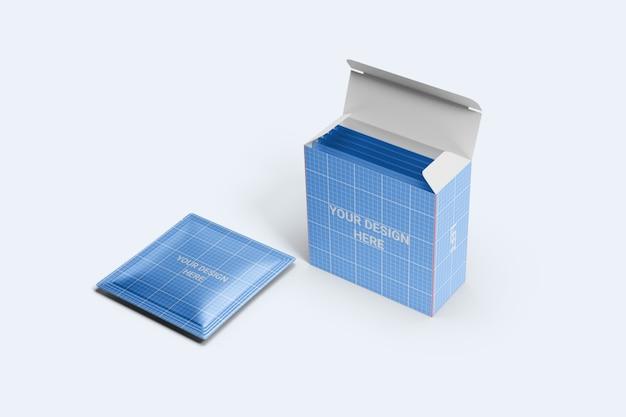Vierkant zakje met mockup voor doosverpakkingen