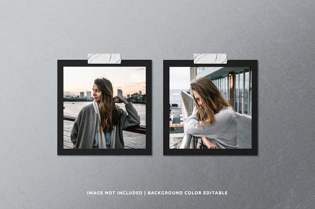 Vierkant zwart papier fotolijstmodel