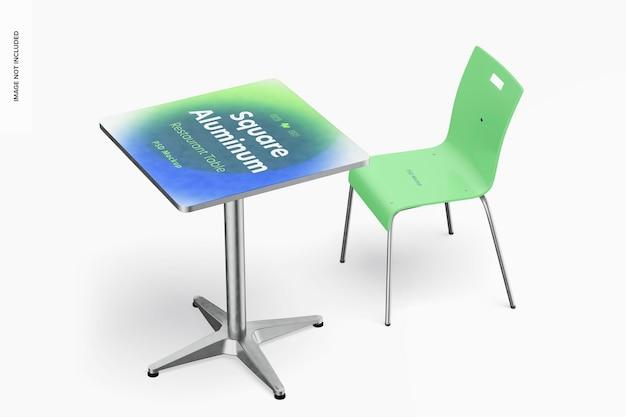 Vierkante aluminium restauranttafel met stoelmodel