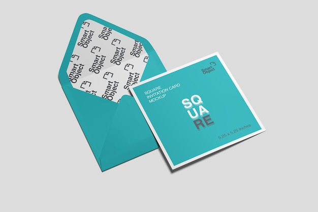 Vierkante ansichtkaart kaart en envelop mockup