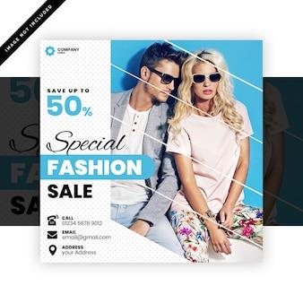 Vierkante banner of folder sjabloon voor mode winkel