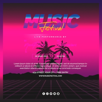 Vierkante berichtsjabloon voor muziekfestival van de jaren 80