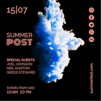 Vierkante berichtsjabloon voor zomerfestival