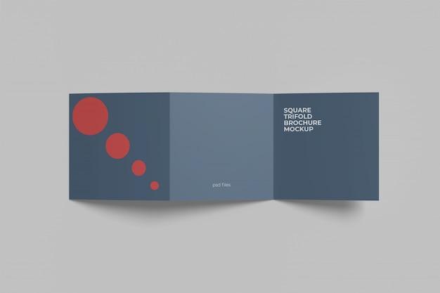 Vierkante driebladige brochure mockup bovenhoek bekijken