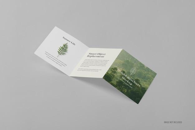 Vierkante driebladige brochure mockup-sjabloon
