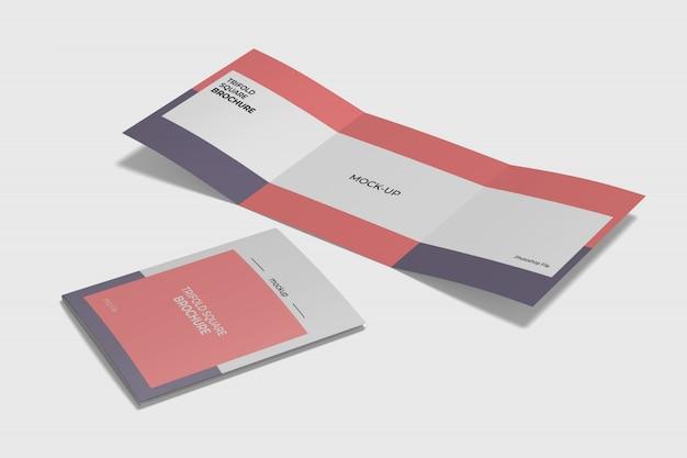 Vierkante driebladige brochure mokup