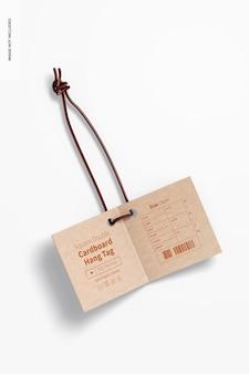 Vierkante dubbele kartonnen hang tag mockup