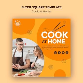 Vierkante flyer cook thuis sjabloon