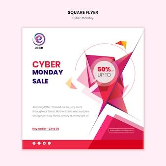 Vierkante flyer cyber maandag sjabloon