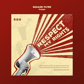 Vierkante flyer met protesteren voor mensenrechten