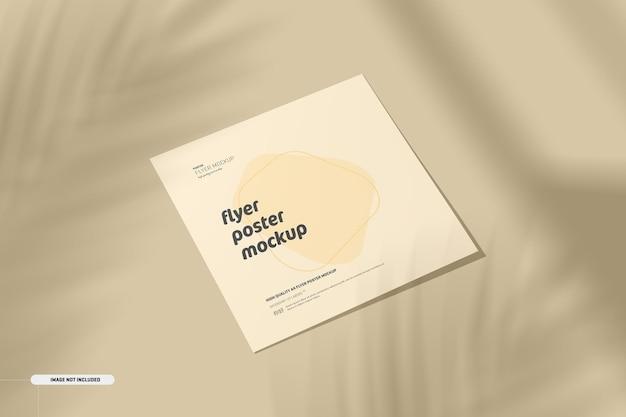 Vierkante flyer-mockup met schaduwoverlay