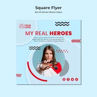 Vierkante flyer niet alle helden dragen capes-sjabloon
