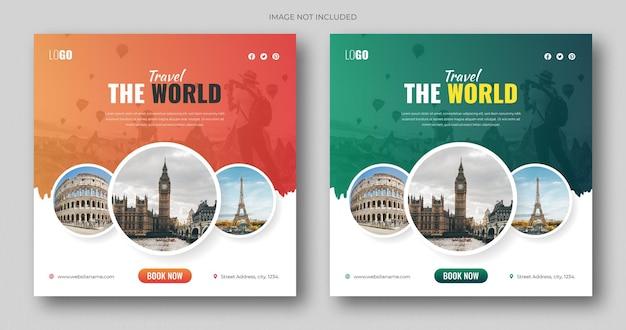 Vierkante flyer of social media postsjabloon voor vakantievakantie