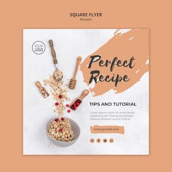 Vierkante flyer-sjabloon gezonde recepten