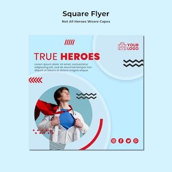 Vierkante flyer-sjabloon niet alle helden dragen capes