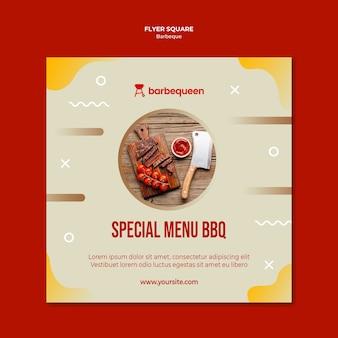 Vierkante flyer-sjabloon voor barbecue restaurant