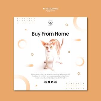 Vierkante flyer-sjabloon voor het adopteren van een huisdier