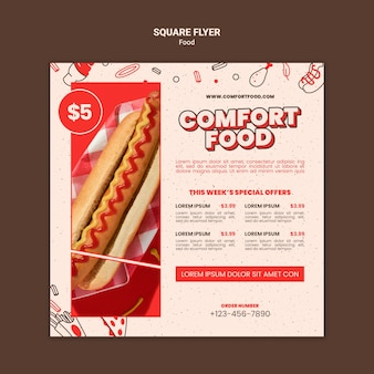 Vierkante flyer-sjabloon voor hotdog comfort food