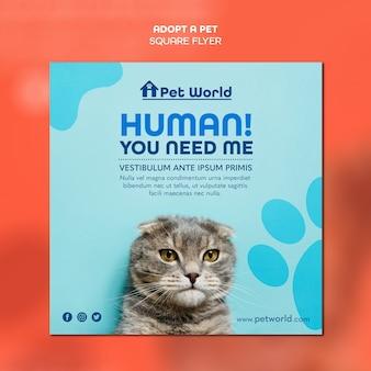 Vierkante flyer-sjabloon voor huisdier adoptie met kat