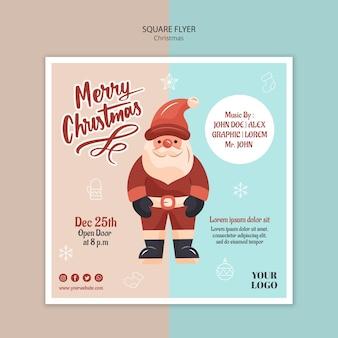 Vierkante flyer-sjabloon voor kerstmis met de kerstman
