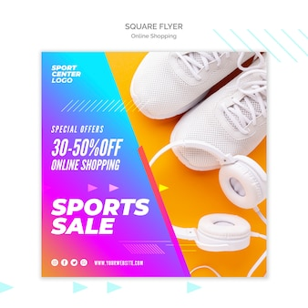 Vierkante flyer-sjabloon voor online sportverkoop