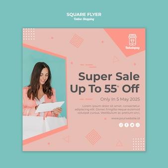 Vierkante flyer-sjabloon voor online winkelen met verkoop
