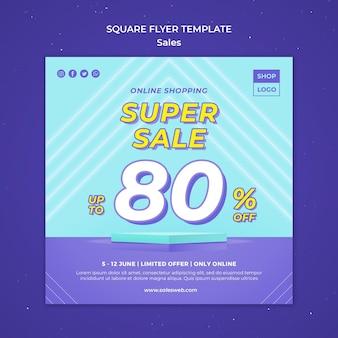 Vierkante flyer-sjabloon voor super verkoop