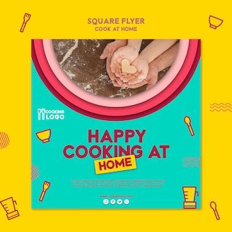 Vierkante flyer sjabloon voor thuis koken